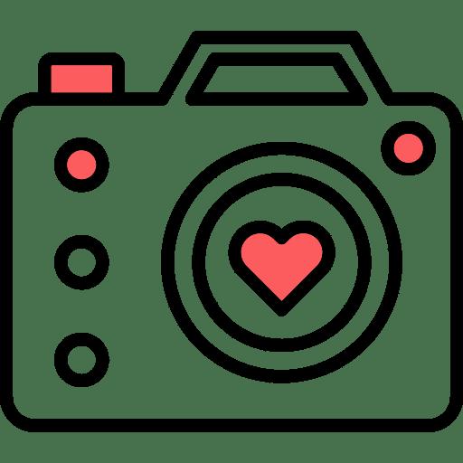 אייקון מצלמה עם לב